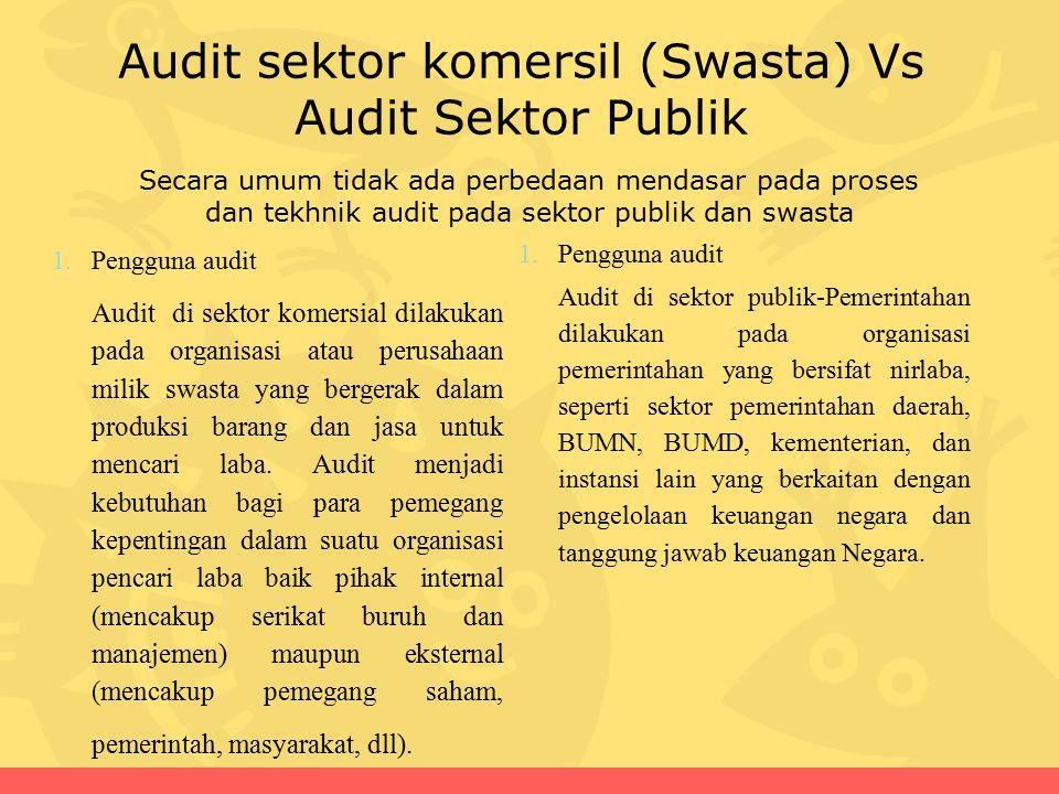 Audit sektor komersil (Swasta) Vs Audit Sektor Publik 1.Pengguna audit Audit di sektor publik-Pemerintahan dilakukan pada organisasi pemerintahan yang bersifat nirlaba, seperti sektor pemerintahan daerah, BUMN, BUMD, kementerian, dan instansi lain yang berkaitan dengan pengelolaan keuangan negara dan tanggung jawab keuangan Negara.