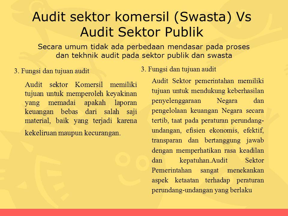 Audit sektor komersil (Swasta) Vs Audit Sektor Publik 3. Fungsi dan tujuan audit Audit Sektor pemerintahan memiliki tujuan untuk mendukung keberhasila