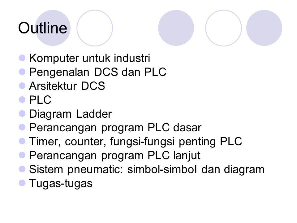 Outline Komputer untuk industri Pengenalan DCS dan PLC Arsitektur DCS PLC Diagram Ladder Perancangan program PLC dasar Timer, counter, fungsi-fungsi penting PLC Perancangan program PLC lanjut Sistem pneumatic: simbol-simbol dan diagram Tugas-tugas