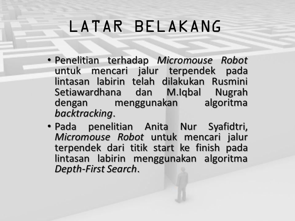LATAR BELAKANG Penelitian terhadap Micromouse Robot untuk mencari jalur terpendek pada lintasan labirin telah dilakukan Rusmini Setiawardhana dan M.Iq