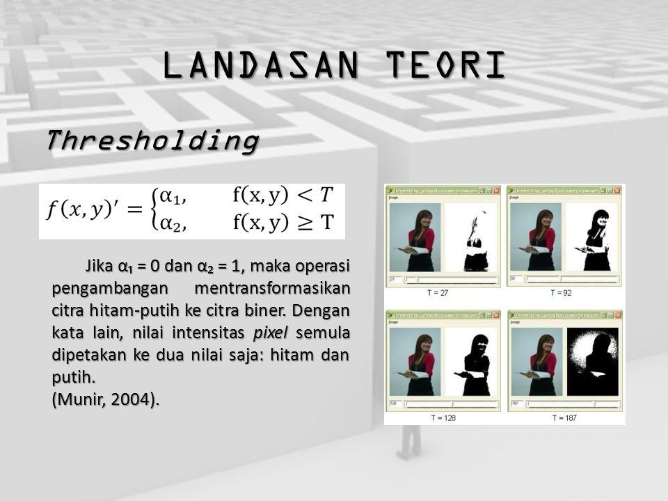LANDASAN TEORI Thresholding Jika α₁ = 0 dan α₂ = 1, maka operasi pengambangan mentransformasikan citra hitam-putih ke citra biner. Dengan kata lain, n
