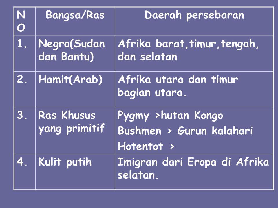 NONO Bangsa/RasDaerah persebaran 1.Negro(Sudan dan Bantu) Afrika barat,timur,tengah, dan selatan 2.Hamit(Arab)Afrika utara dan timur bagian utara. 3.R