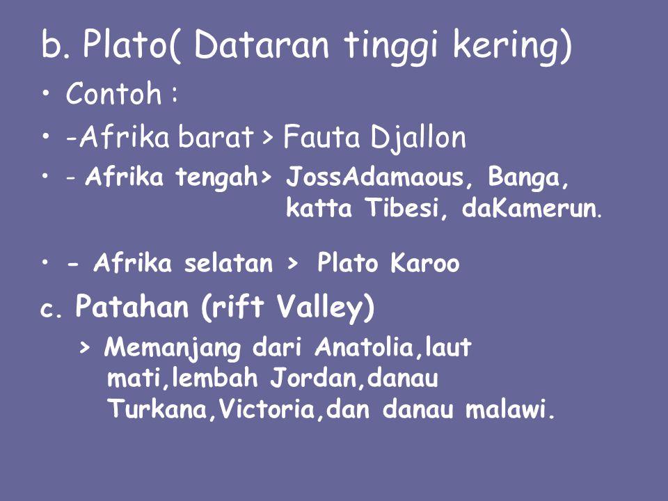 b. Plato( Dataran tinggi kering) Contoh : -Afrika barat > Fauta Djallon - Afrika tengah> JossAdamaous, Banga, katta Tibesi, daKamerun. - Afrika selata