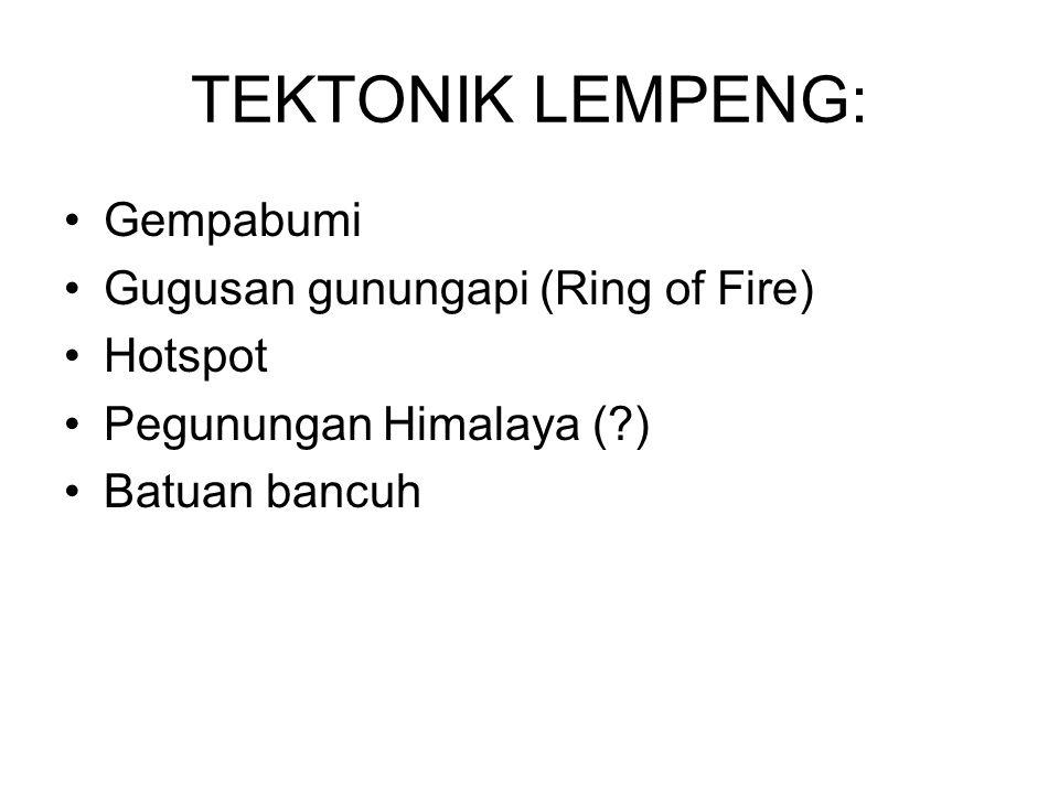Gempabumi Gugusan gunungapi (Ring of Fire) Hotspot Pegunungan Himalaya (?) Batuan bancuh