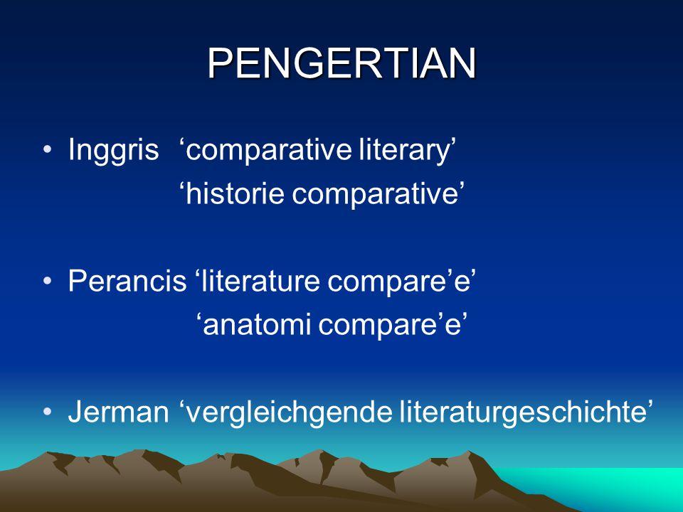 PENGERTIAN Inggris'comparative literary' 'historie comparative' Perancis 'literature compare'e' 'anatomi compare'e' Jerman'vergleichgende literaturgeschichte'