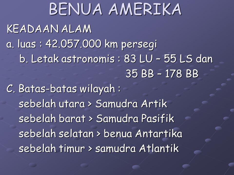 BENUA AMERIKA KEADAAN ALAM a.luas : 42.057.000 km persegi b.