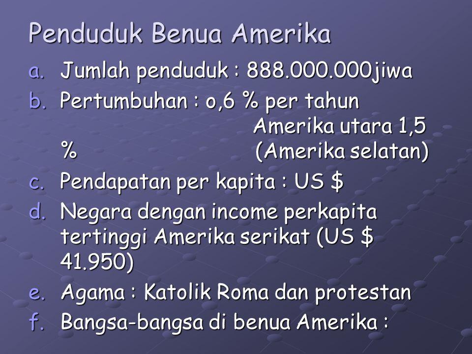 Penduduk Benua Amerika a.Jumlah penduduk : 888.000.000jiwa b.Pertumbuhan : o,6 % per tahun Amerika utara 1,5 % (Amerika selatan) c.Pendapatan per kapita : US $ d.Negara dengan income perkapita tertinggi Amerika serikat (US $ 41.950) e.Agama : Katolik Roma dan protestan f.Bangsa-bangsa di benua Amerika :