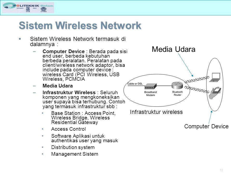 12 Sistem Wireless Network  Sistem Wireless Network termasuk di dalamnya : –Computer Device : Berada pada sisi end user, berbeda kebutuhan berbeda peralatan.