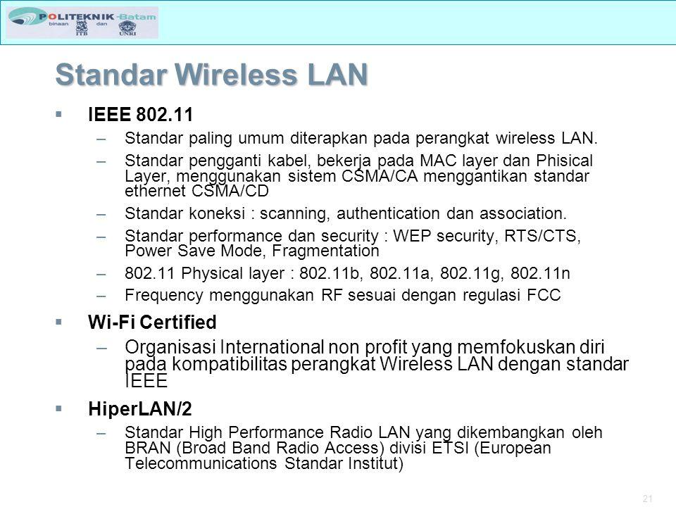 21 Standar Wireless LAN  IEEE 802.11 –Standar paling umum diterapkan pada perangkat wireless LAN.
