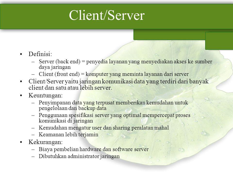 Client/Server Definisi: –Server (back end) = penyedia layanan yang menyediakan akses ke sumber daya jaringan –Client (front end) = komputer yang memin