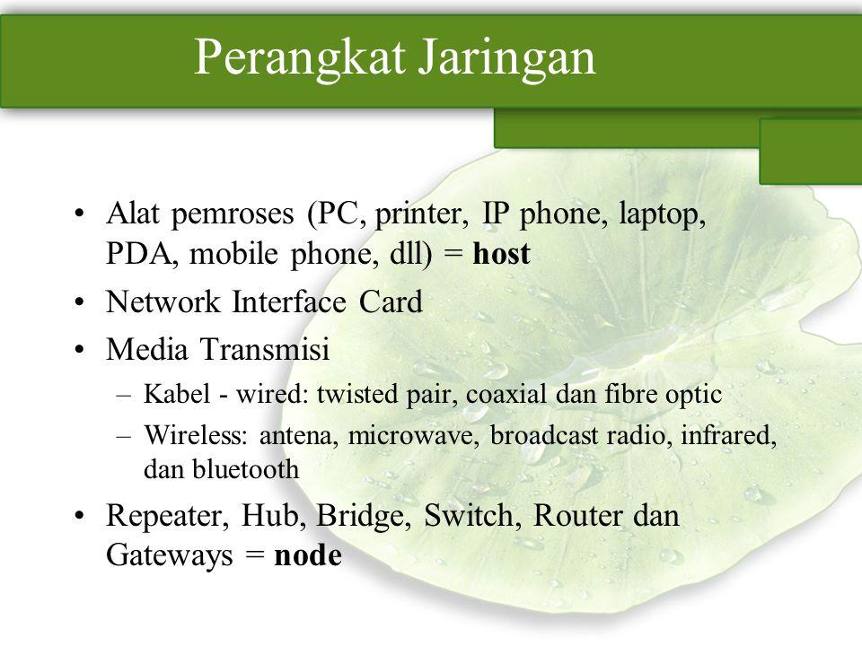 Perangkat Jaringan Alat pemroses (PC, printer, IP phone, laptop, PDA, mobile phone, dll) = host Network Interface Card Media Transmisi –Kabel - wired: