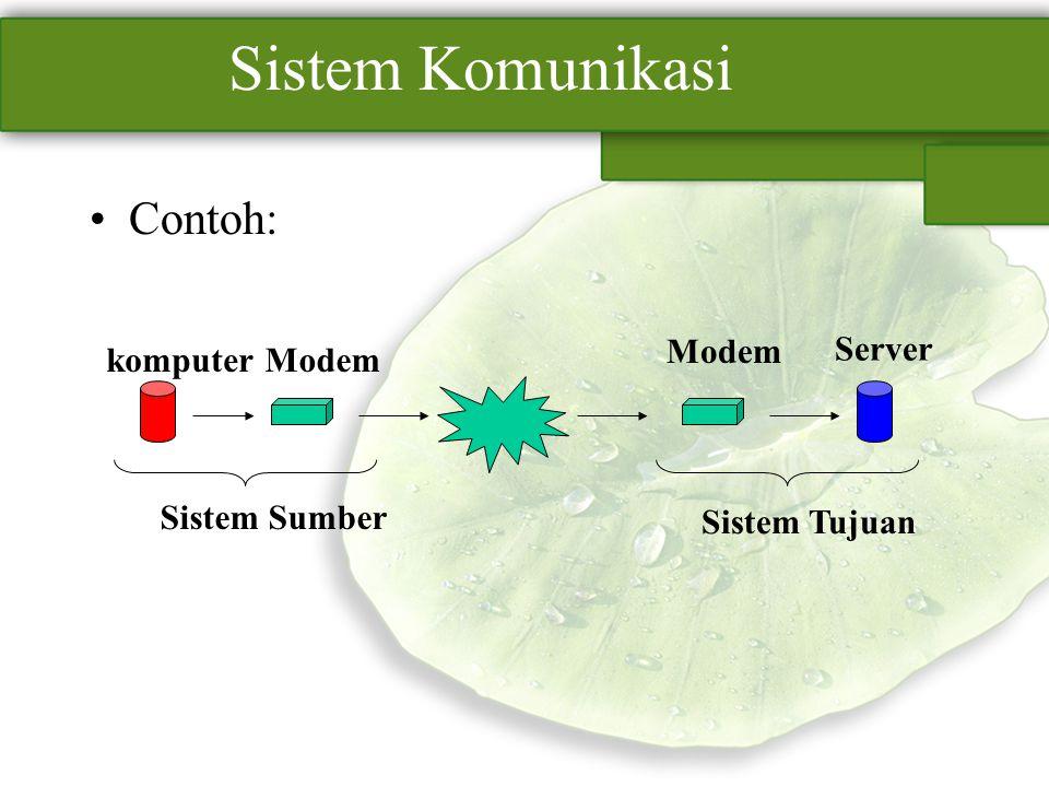 Sistem Komunikasi Contoh: komputerModem Server Sistem Sumber Sistem Tujuan
