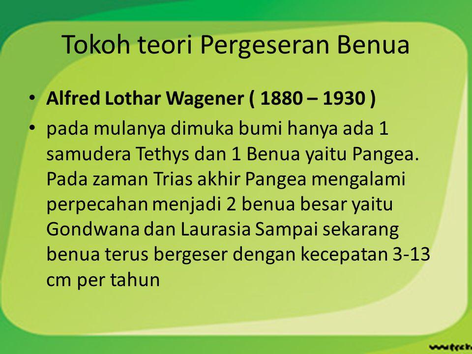 Tokoh teori Pergeseran Benua Alfred Lothar Wagener ( 1880 – 1930 ) pada mulanya dimuka bumi hanya ada 1 samudera Tethys dan 1 Benua yaitu Pangea. Pada