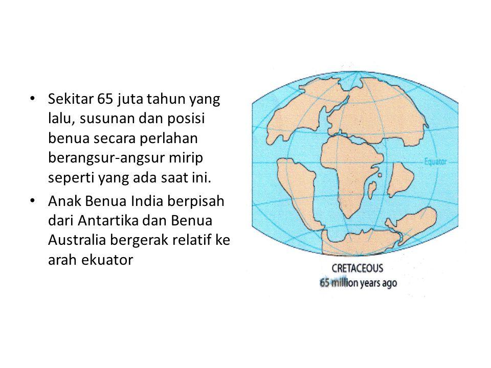 Sekitar 65 juta tahun yang lalu, susunan dan posisi benua secara perlahan berangsur-angsur mirip seperti yang ada saat ini. Anak Benua India berpisah