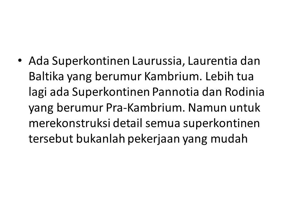 Ada Superkontinen Laurussia, Laurentia dan Baltika yang berumur Kambrium. Lebih tua lagi ada Superkontinen Pannotia dan Rodinia yang berumur Pra-Kambr