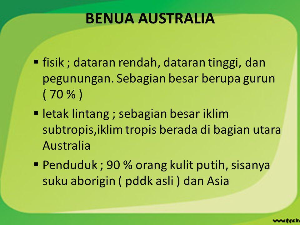 BENUA AUSTRALIA  fisik ; dataran rendah, dataran tinggi, dan pegunungan. Sebagian besar berupa gurun ( 70 % )  letak lintang ; sebagian besar iklim