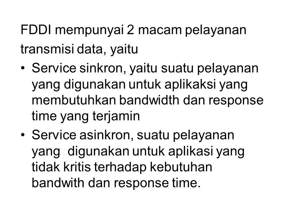 FDDI mempunyai 2 macam pelayanan transmisi data, yaitu Service sinkron, yaitu suatu pelayanan yang digunakan untuk aplikaksi yang membutuhkan bandwidt