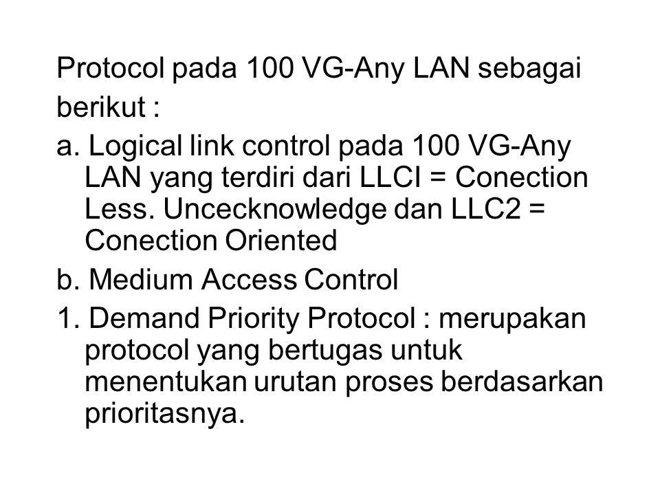 Protocol pada 100 VG-Any LAN sebagai berikut : a. Logical link control pada 100 VG-Any LAN yang terdiri dari LLCI = Conection Less. Uncecknowledge dan