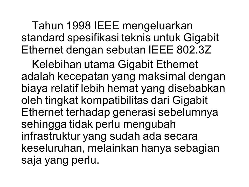 Tahun 1998 IEEE mengeluarkan standard spesifikasi teknis untuk Gigabit Ethernet dengan sebutan IEEE 802.3Z Kelebihan utama Gigabit Ethernet adalah kec