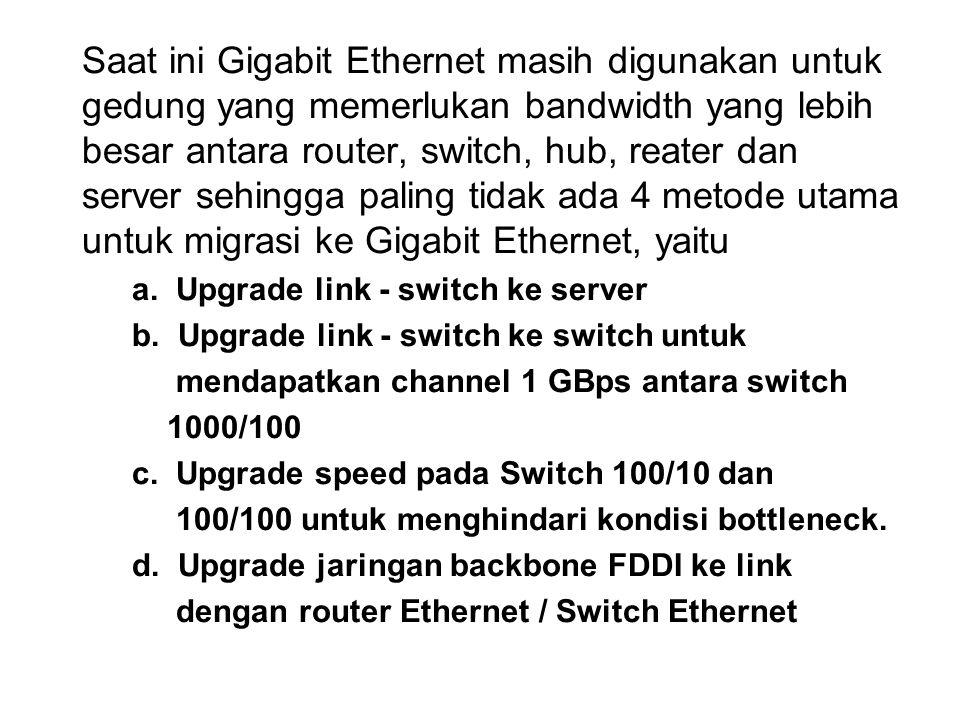 Saat ini Gigabit Ethernet masih digunakan untuk gedung yang memerlukan bandwidth yang lebih besar antara router, switch, hub, reater dan server sehing