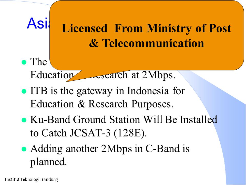 Institut Teknologi Bandung Asia Internet Interconnection Initiatives (AI3) l The First Asia Pacific Backbone for Education & Research at 2Mbps. l ITB
