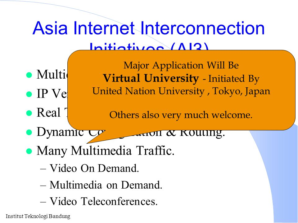 Institut Teknologi Bandung Asia Internet Interconnection Initiatives (AI3) l Multicast Backbone (MBONE) l IP Version 6 (the Next Generation) l Real Ti