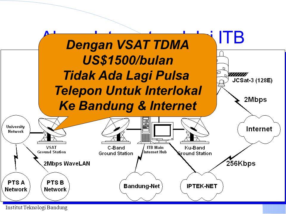 Institut Teknologi Bandung Akses Internet melalui ITB Dengan VSAT TDMA US$1500/bulan Tidak Ada Lagi Pulsa Telepon Untuk Interlokal Ke Bandung & Intern