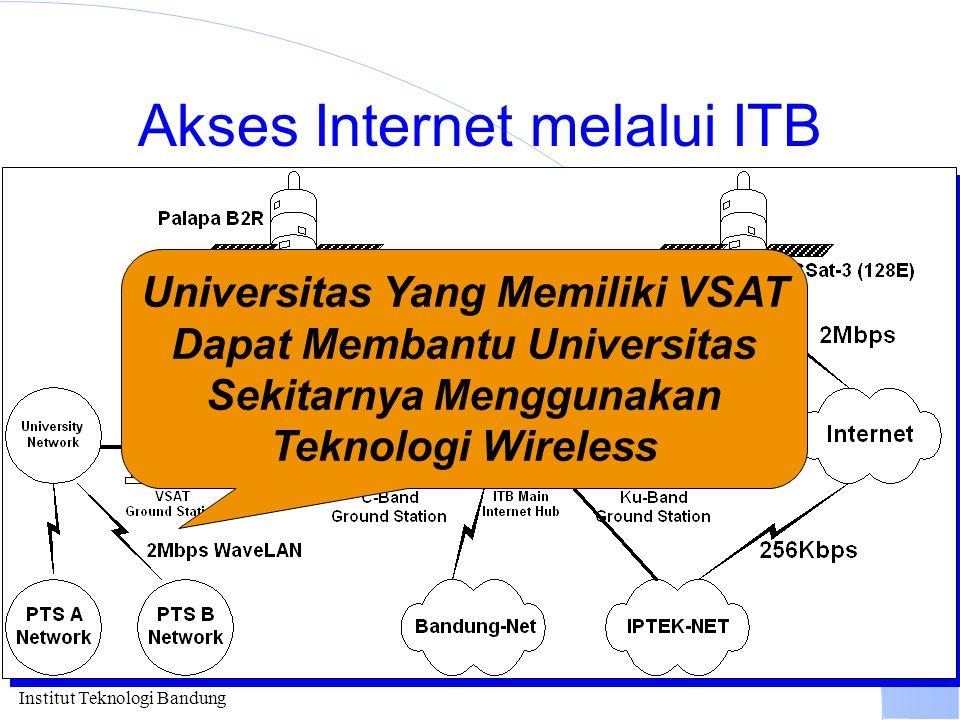 Institut Teknologi Bandung Akses Internet melalui ITB Universitas Yang Memiliki VSAT Dapat Membantu Universitas Sekitarnya Menggunakan Teknologi Wirel
