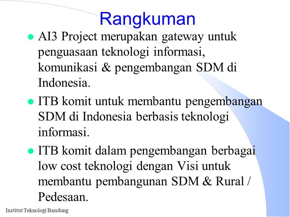 Institut Teknologi Bandung Rangkuman l AI3 Project merupakan gateway untuk penguasaan teknologi informasi, komunikasi & pengembangan SDM di Indonesia.