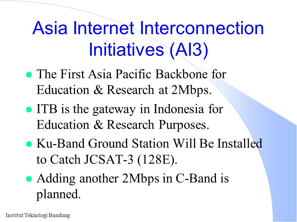 Institut Teknologi Bandung Indonesia Speed To Internet Year bps (log plot) User Base & Regional Backbone Should Be Deployed To Sustain Such Increase!