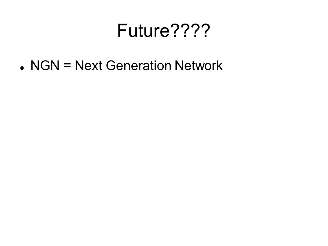Future???? NGN = Next Generation Network