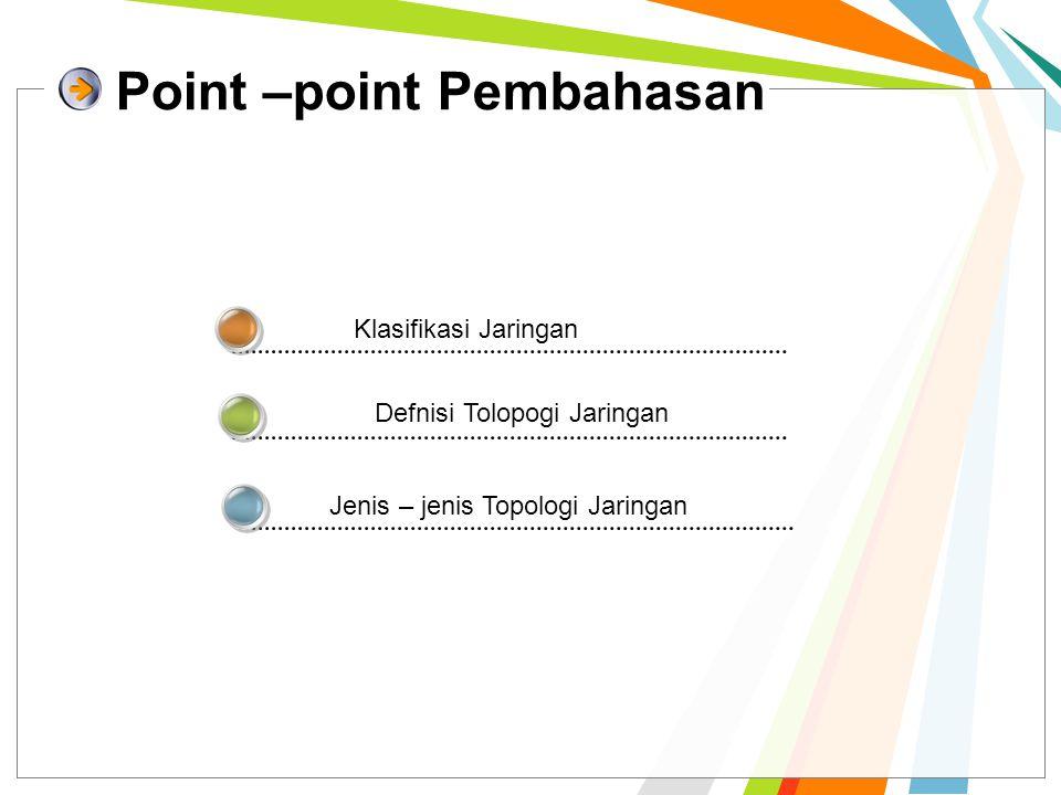 Point –point Pembahasan Klasifikasi Jaringan Defnisi Tolopogi Jaringan Jenis – jenis Topologi Jaringan