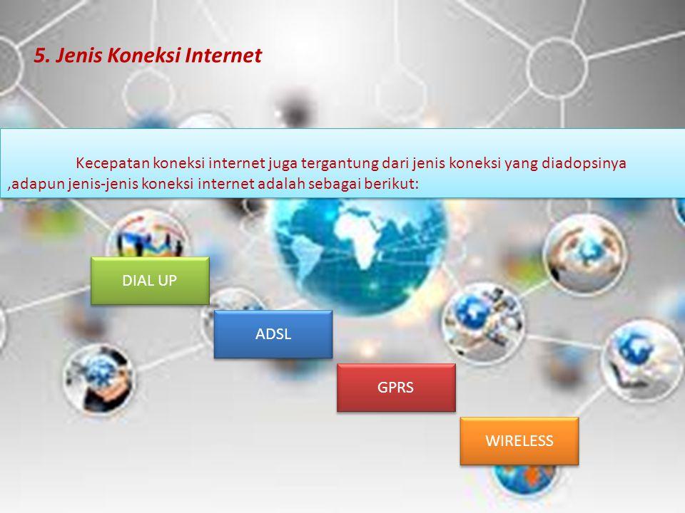 Kecepatan koneksi internet juga tergantung dari jenis koneksi yang diadopsinya,adapun jenis-jenis koneksi internet adalah sebagai berikut: 5. Jenis Ko