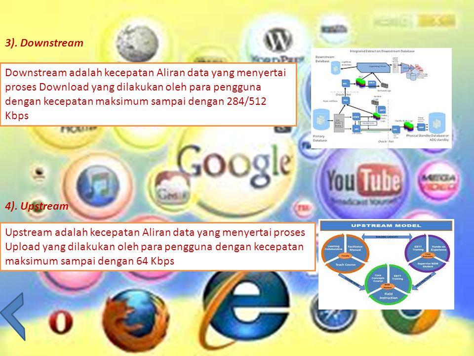 3). Downstream Downstream adalah kecepatan Aliran data yang menyertai proses Download yang dilakukan oleh para pengguna dengan kecepatan maksimum samp
