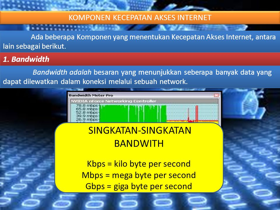 KOMPONEN KECEPATAN AKSES INTERNET Ada beberapa Komponen yang menentukan Kecepatan Akses Internet, antara lain sebagai berikut. 1. Bandwidth Bandwidth