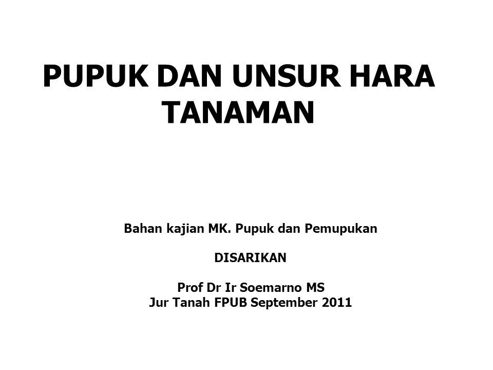 PUPUK DAN UNSUR HARA TANAMAN Bahan kajian MK. Pupuk dan Pemupukan DISARIKAN Prof Dr Ir Soemarno MS Jur Tanah FPUB September 2011