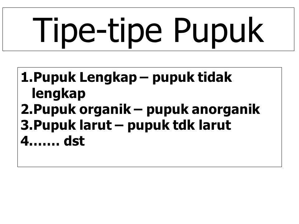 Tipe-tipe Pupuk 1.Pupuk Lengkap – pupuk tidak lengkap 2.Pupuk organik – pupuk anorganik 3.Pupuk larut – pupuk tdk larut 4.…… dst