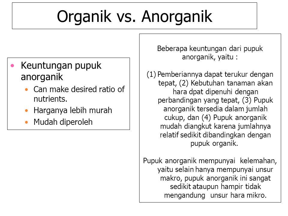 Organik vs. Anorganik Keuntungan pupuk anorganik Can make desired ratio of nutrients. Harganya lebih murah Mudah diperoleh Beberapa keuntungan dari pu