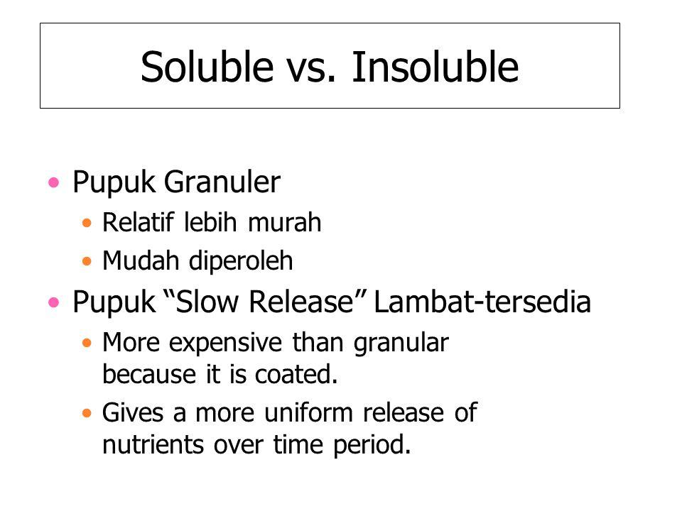 """Soluble vs. Insoluble Pupuk Granuler Relatif lebih murah Mudah diperoleh Pupuk """"Slow Release"""" Lambat-tersedia More expensive than granular because it"""