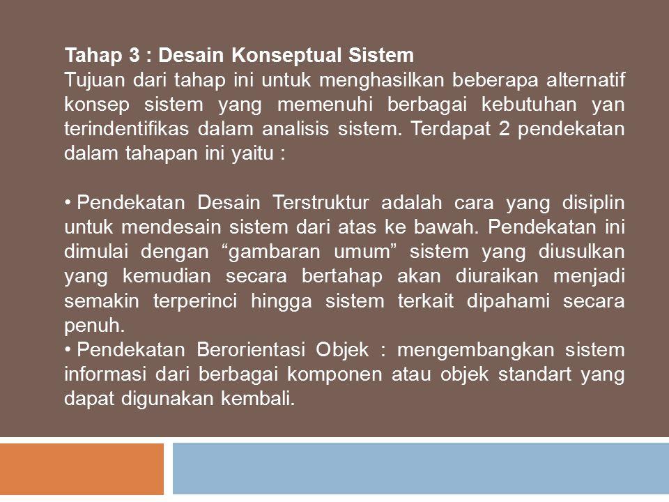 Tahap 3 : Desain Konseptual Sistem Tujuan dari tahap ini untuk menghasilkan beberapa alternatif konsep sistem yang memenuhi berbagai kebutuhan yan ter