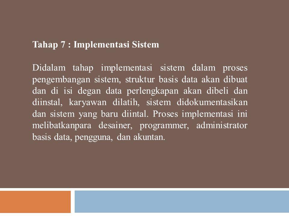 Tahap 7 : Implementasi Sistem Didalam tahap implementasi sistem dalam proses pengembangan sistem, struktur basis data akan dibuat dan di isi degan dat