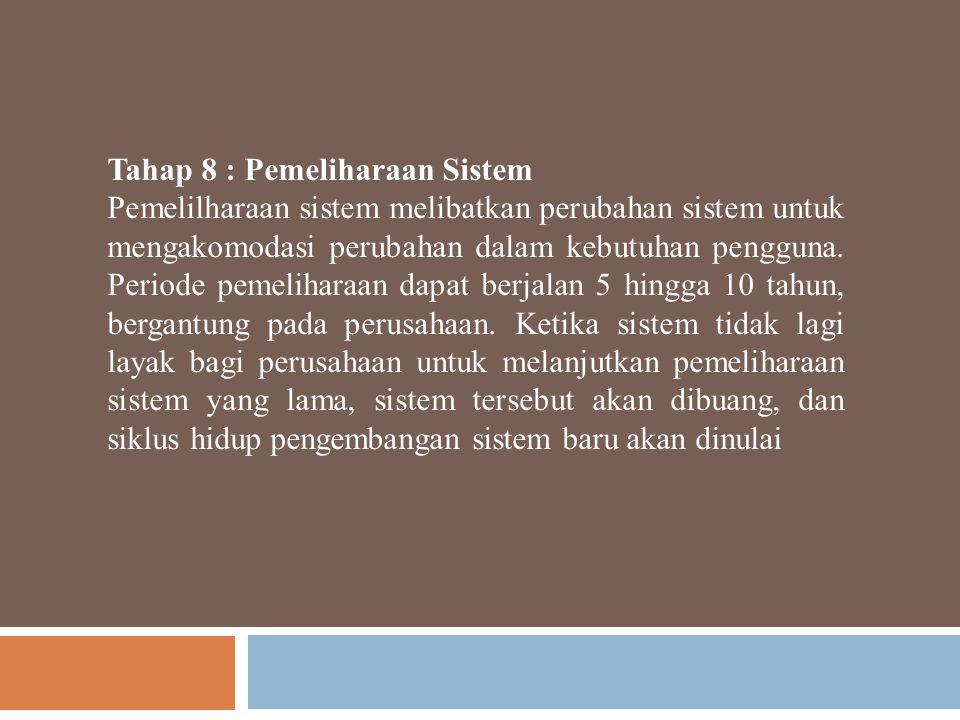 Tahap 8 : Pemeliharaan Sistem Pemelilharaan sistem melibatkan perubahan sistem untuk mengakomodasi perubahan dalam kebutuhan pengguna. Periode pemelih
