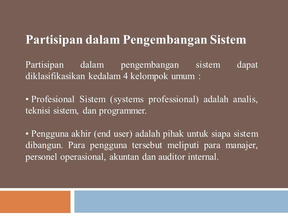 Partisipan dalam Pengembangan Sistem Partisipan dalam pengembangan sistem dapat diklasifikasikan kedalam 4 kelompok umum : Profesional Sistem (systems