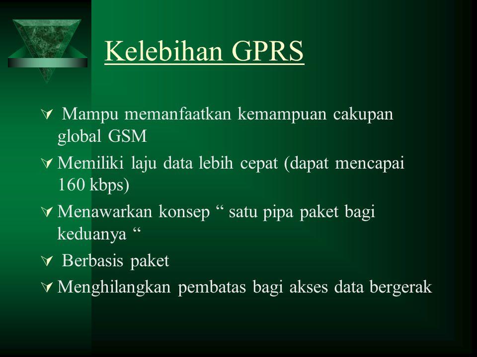 """Kelebihan GPRS  Mampu memanfaatkan kemampuan cakupan global GSM  Memiliki laju data lebih cepat (dapat mencapai 160 kbps)  Menawarkan konsep """" satu"""