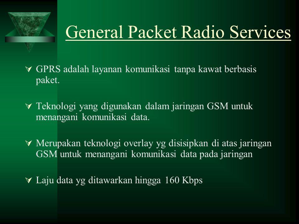 General Packet Radio Services  GPRS adalah layanan komunikasi tanpa kawat berbasis paket.  Teknologi yang digunakan dalam jaringan GSM untuk menanga