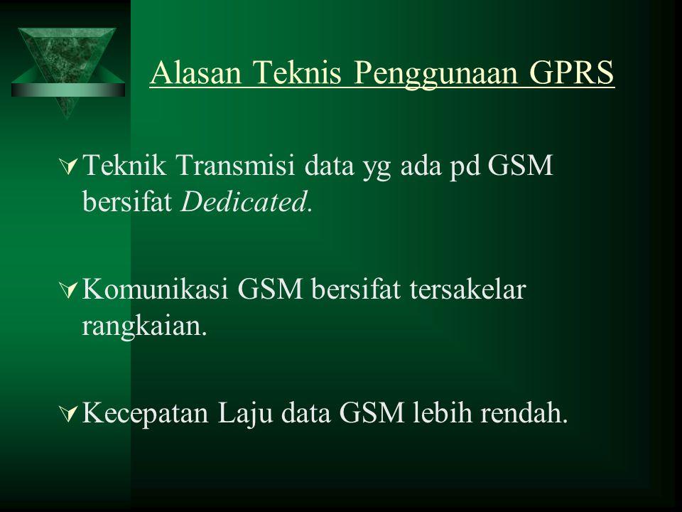 Alasan Teknis Penggunaan GPRS  Teknik Transmisi data yg ada pd GSM bersifat Dedicated.  Komunikasi GSM bersifat tersakelar rangkaian.  Kecepatan La