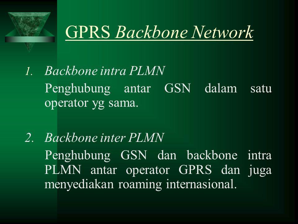 GPRS Backbone Network 1. Backbone intra PLMN Penghubung antar GSN dalam satu operator yg sama. 2. Backbone inter PLMN Penghubung GSN dan backbone intr