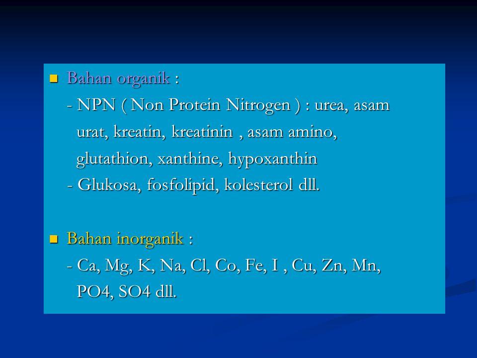 Bahan organik : Bahan organik : - NPN ( Non Protein Nitrogen ) : urea, asam - NPN ( Non Protein Nitrogen ) : urea, asam urat, kreatin, kreatinin, asam