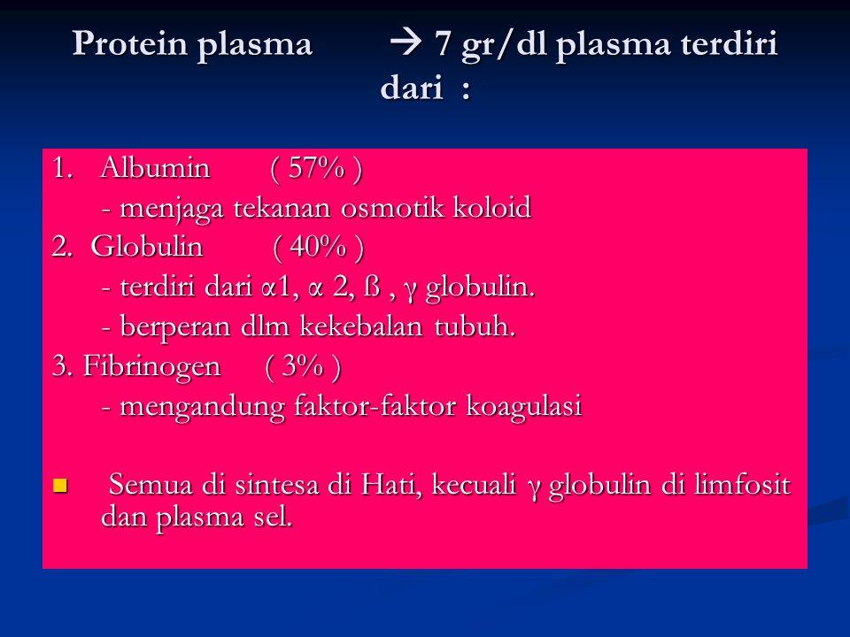 Protein plasma  7 gr/dl plasma terdiri dari : 1. Albumin ( 57% ) - menjaga tekanan osmotik koloid 2. Globulin ( 40% ) - terdiri dari α1, α 2, ß, γ gl
