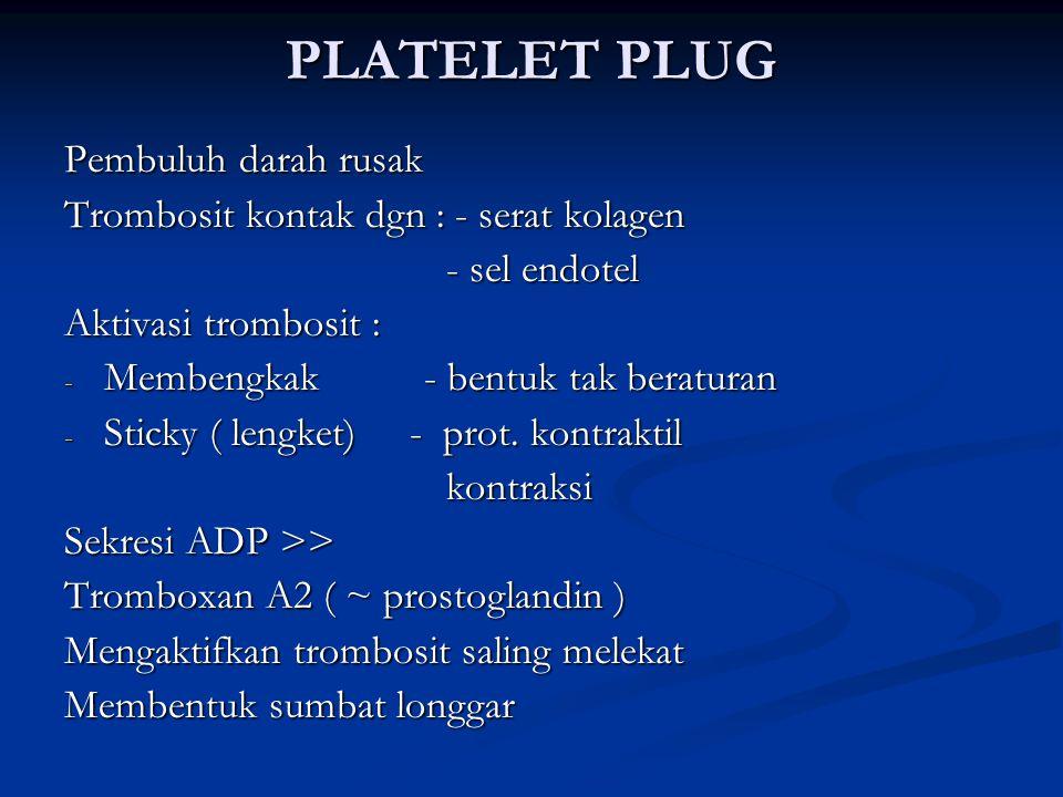 PLATELET PLUG Pembuluh darah rusak Trombosit kontak dgn : - serat kolagen - sel endotel - sel endotel Aktivasi trombosit : - Membengkak - bentuk tak b
